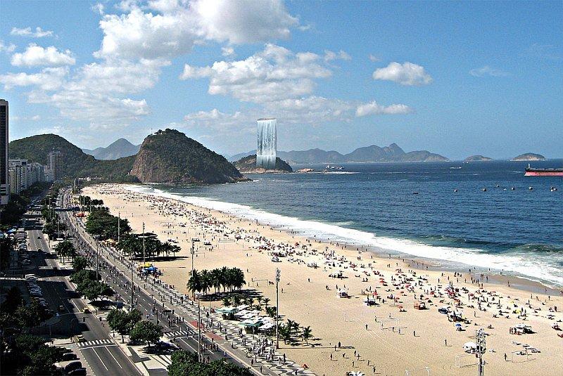 Фото Искусственный водопад «Башня Солнечного города». Бразилия, Рио-де-Жанейро, Avenida Atlantica, 2-32